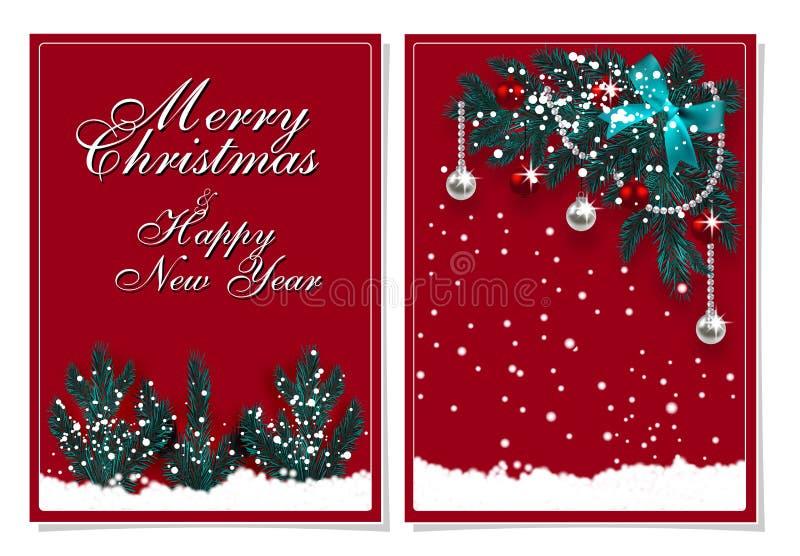 Vrolijke Kerstmis en Gelukkig Nieuwjaar Groetkaart met decoratie op de Kerstboom en de sneeuw Illustratie stock illustratie
