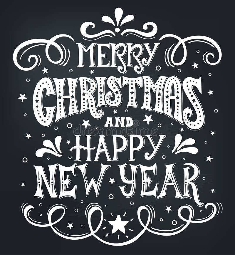 Vrolijke Kerstmis en Gelukkig Nieuwjaar Het conceptuele met de hand geschreven kalligrafische ontwerp van de uitdrukkingst-shirt, stock illustratie