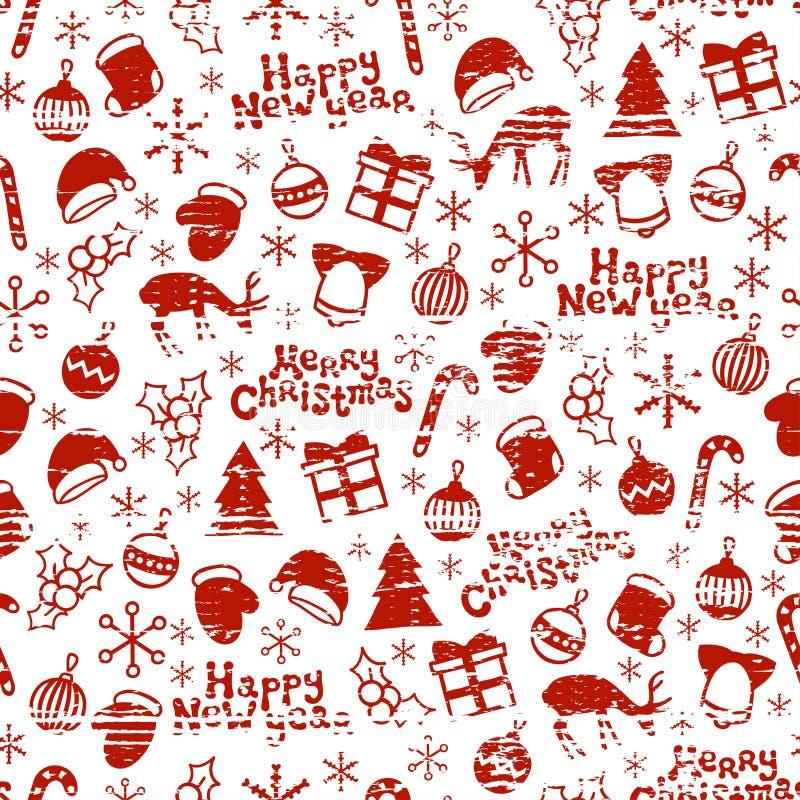 Vrolijke Kerstmis en Gelukkig Nieuwjaar 2017 Het getrokken naadloze patroon van het Kerstmisseizoen hand Vector illustratie De st stock illustratie