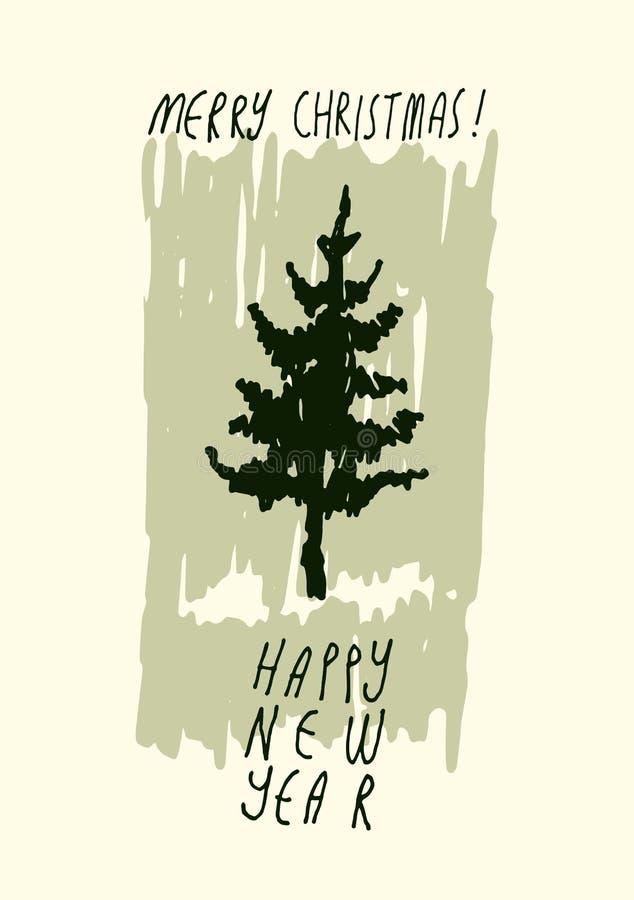 Vrolijke Kerstmis en Gelukkig Nieuwjaar! Het hand getrokken ontwerp van de de groetkaart van krabbelkerstmis Vector illustratie vector illustratie