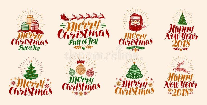 Vrolijke Kerstmis en Gelukkig Nieuwjaar, het van letters voorzien Kerstmis, kersttijd, de reeks van het vakantieetiket of pictogr vector illustratie