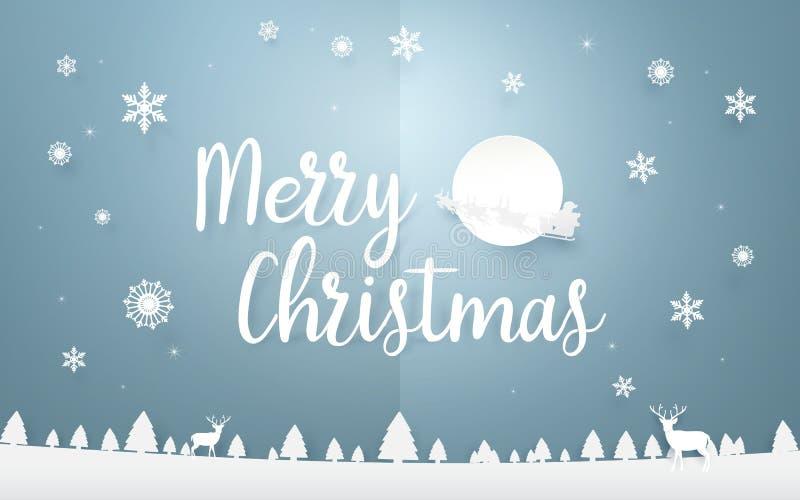Vrolijke Kerstmis en Gelukkig Nieuwjaar Het vrolijke van letters voorzien van Kerstmis stock illustratie