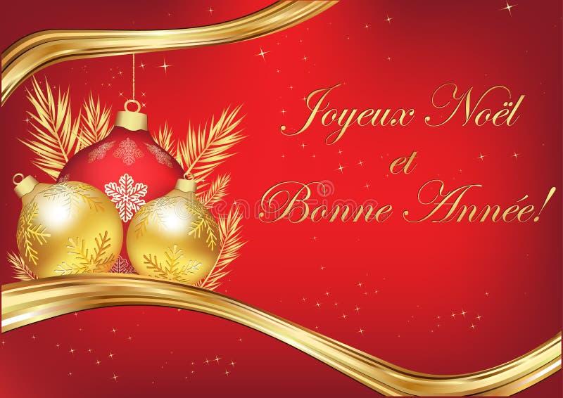 Vrolijke Kerstmis en Gelukkig Nieuwjaar - klassieke Franse groetkaart met rode achtergrond royalty-vrije illustratie