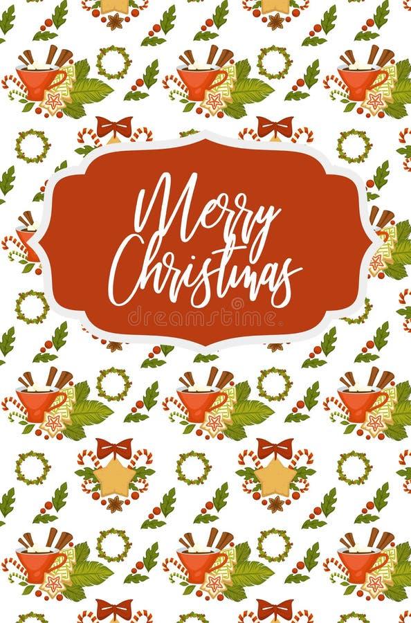 Vrolijke Kerstmis en Gelukkig Nieuwjaar naadloos patroon stock illustratie