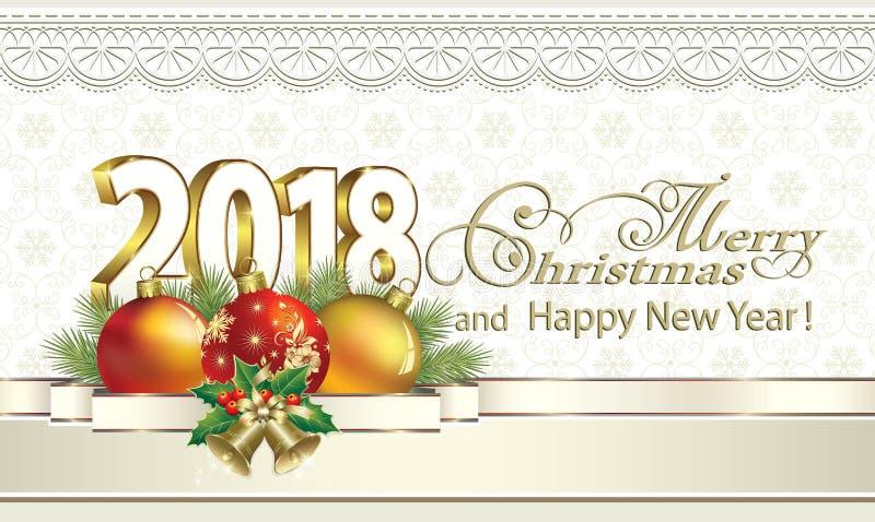 Vrolijke Kerstmis En Gelukkig Nieuwjaar 2018 Op Een Achtergrond ...