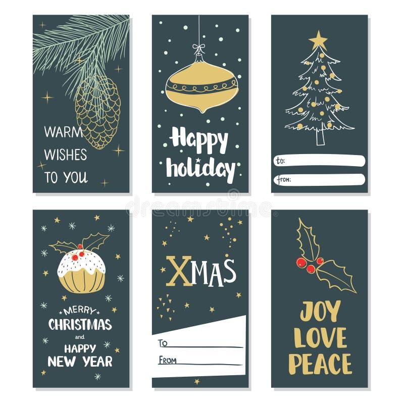 Vrolijke Kerstmis en Gelukkig Nieuwjaar Reeks Kerstmiskaarten vector illustratie