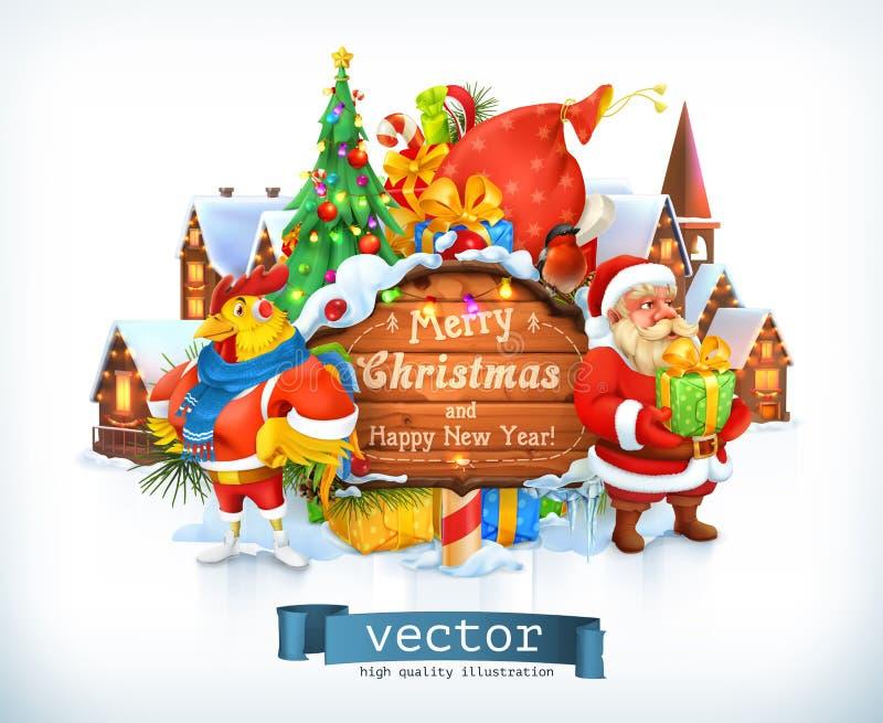 Vrolijke Kerstmis en Gelukkig Nieuwjaar Santa Claus, Kerstmisboom, houten teken, haan Vector royalty-vrije illustratie
