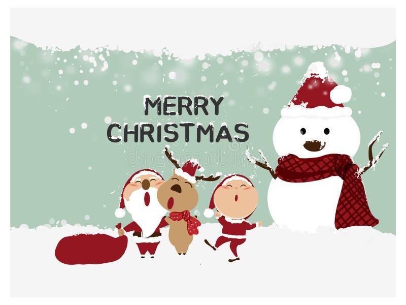 Vrolijke Kerstmis en Gelukkig Nieuwjaar, Santa Claus, Sneeuwman, Rendier met de kleine kaart van de jonge geitjes gelukkige groet vector illustratie