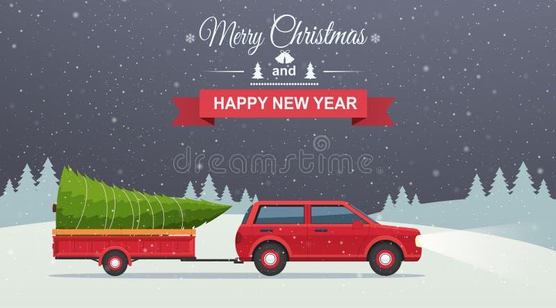 Vrolijke Kerstmis en Gelukkig Nieuwjaar Sneeuw de nachtachtergrond van de vakantiewinter met rode auto en Kerstmisboom in aanhang royalty-vrije illustratie