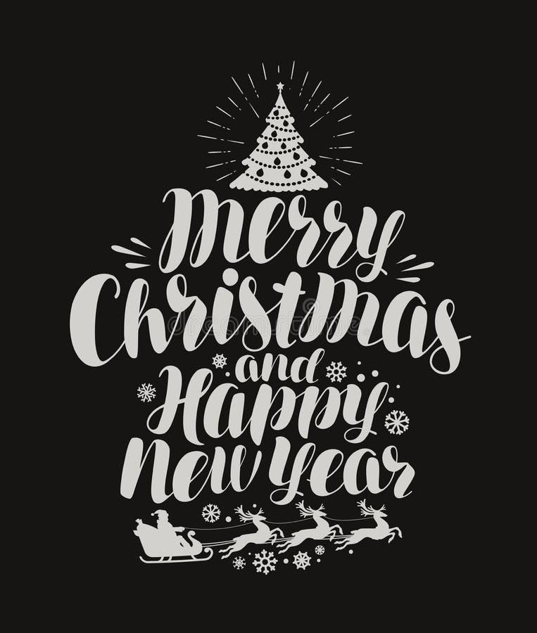 Vrolijke Kerstmis en Gelukkig Nieuwjaar Uitstekende inschrijving, die op krijtbord van letters voorzien Vector illustratie stock illustratie