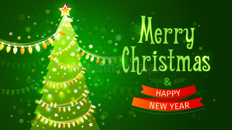 Vrolijke Kerstmis en Gelukkig Nieuwjaar Vectorillustratie Feestelijke prentbriefkaar Groene boom met slinger van gloeilampen stock illustratie