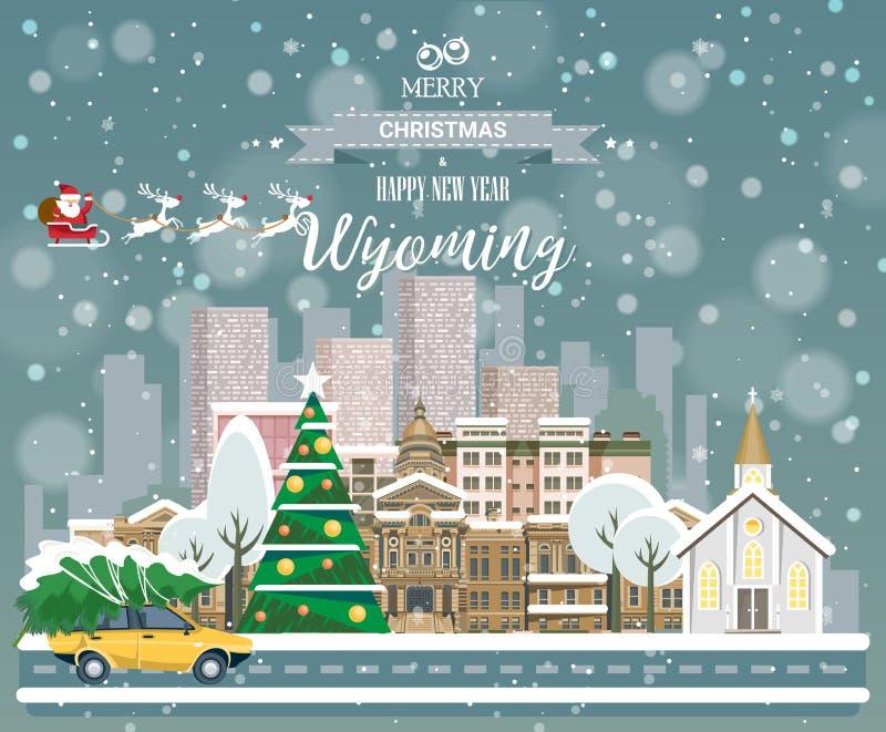 Vrolijke Kerstmis en Gelukkig Nieuwjaar in Wyoming Het begroeten van feestelijke kaart van de V.S. De winter sneeuwende stad met  royalty-vrije illustratie