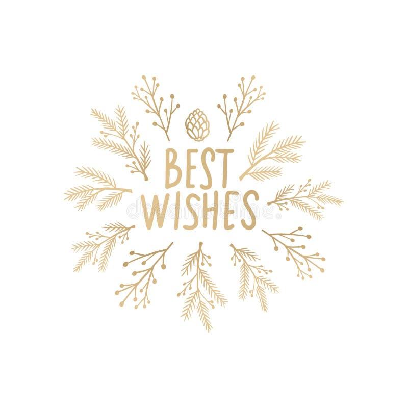 Vrolijke Kerstmis en Gelukkig Nieuwjaarontwerp Gouden de kunstkaart van de Kerstmislijn vector illustratie