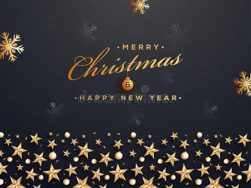Vrolijke Kerstmis en Gelukkig van het Nieuwjaaraffiche of malplaatje ontwerpdec vector illustratie