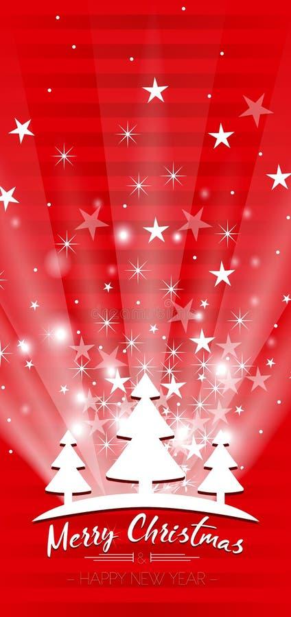 Vrolijke Kerstmis en Gelukkige de groetkaart van het Nieuwjaar vector illustratie
