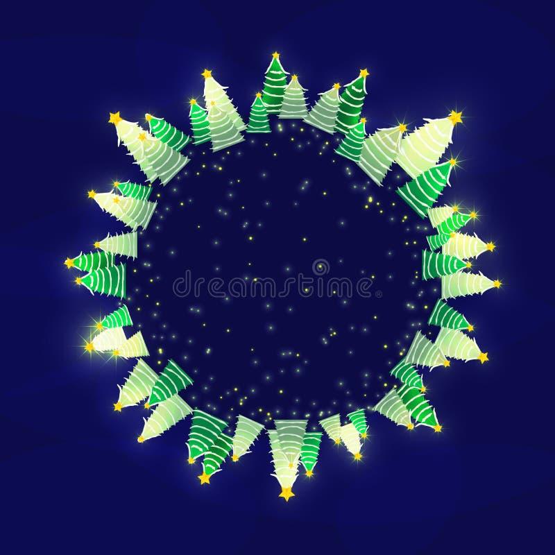 Vrolijke Kerstmis en Gelukkige de groetkaart van het Nieuwjaar Leeg malplaatje met plaats voor tekst royalty-vrije illustratie