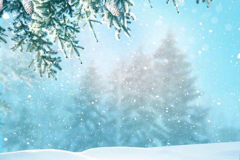 Vrolijke Kerstmis en Gelukkige de groetkaart van het Nieuwjaar De winterlandsca stock foto's