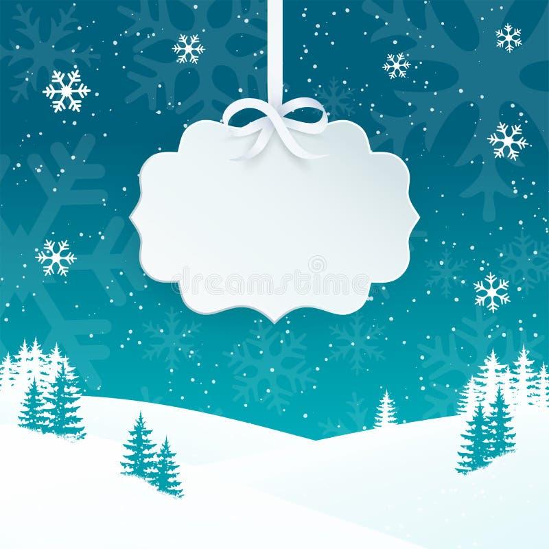 2018 Vrolijke Kerstmis en Gelukkige de kaartachtergrond van de Nieuwjaargroet met sneeuwvlokken Het landschapsachtergrond van de  royalty-vrije illustratie