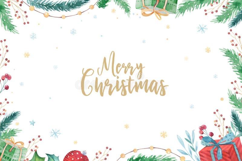 Vrolijke Kerstmis en Gelukkige de winterreeks van de Nieuwjaar 2019 decoratie De achtergrond van de waterverfvakantie De kaart va stock illustratie