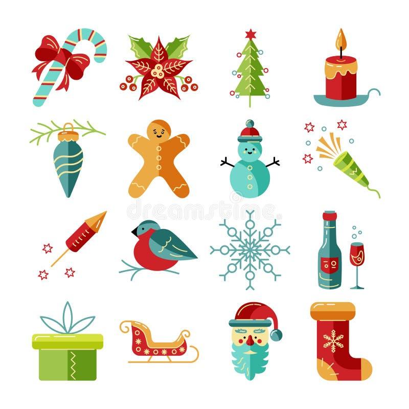 Vrolijke Kerstmis en Gelukkige Geplaatste Nieuwjaarpictogrammen vector illustratie
