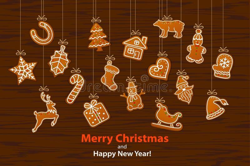 Vrolijke Kerstmis en Gelukkige hangende de kabelslinger van de Nieuwjaar seizoengebonden winter met peperkoekkoekjes vector illustratie