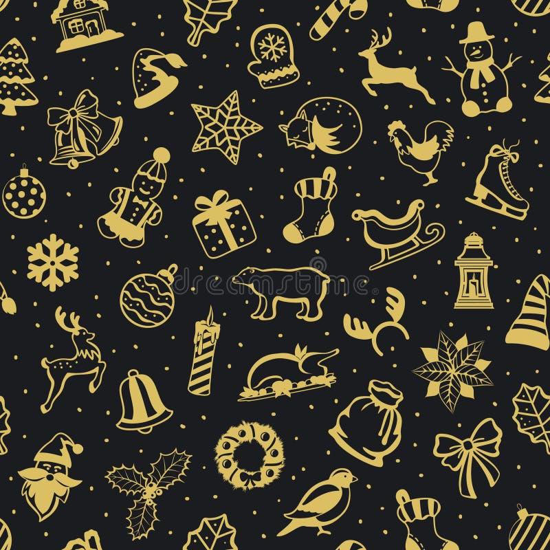 Vrolijke Kerstmis en Gelukkige Naadloze het Patroontextuur van de Nieuwjaar seizoengebonden winter met decoratiepunten in zwart e vector illustratie