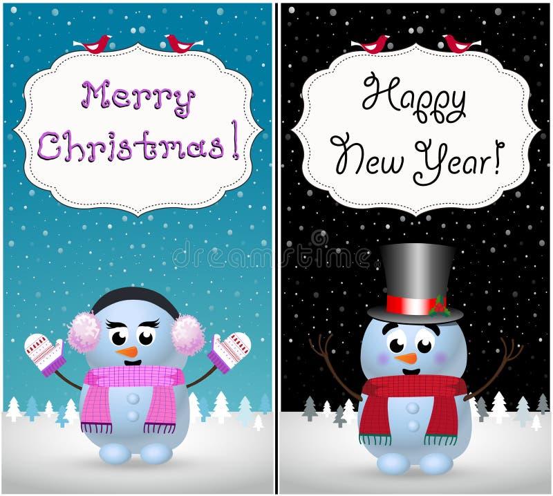Vrolijke Kerstmis en gelukkige nieuwe de kaartenreeks van de jaargroet van leuke sneeuwman en snowgirl royalty-vrije illustratie