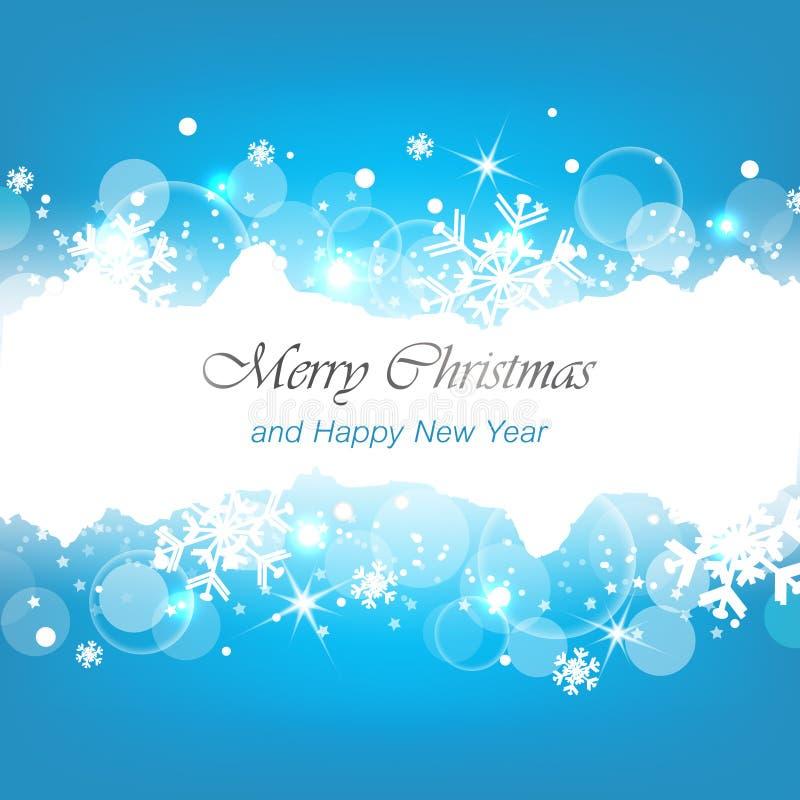 Vrolijke Kerstmis en gelukkige nieuwe jaar blauwe achtergrond royalty-vrije illustratie