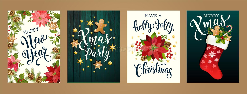 Vrolijke Kerstmis en Gelukkige nieuwe jaar 2019 witte en zwarte kleuren Ontwerp voor affiche, kaart, uitnodiging, kaart, vlieger, royalty-vrije illustratie