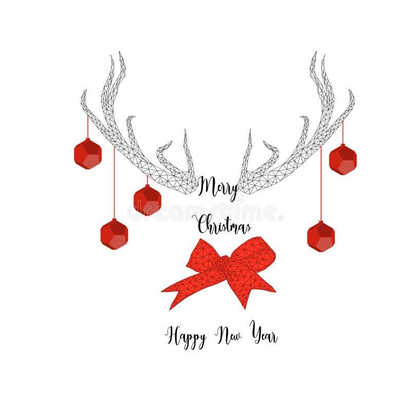 Vrolijke Kerstmis en Gelukkige Nieuwe jaarkaart met hertengeweitakken, ballen, lintboog en tekst in zwart en rood vector illustratie