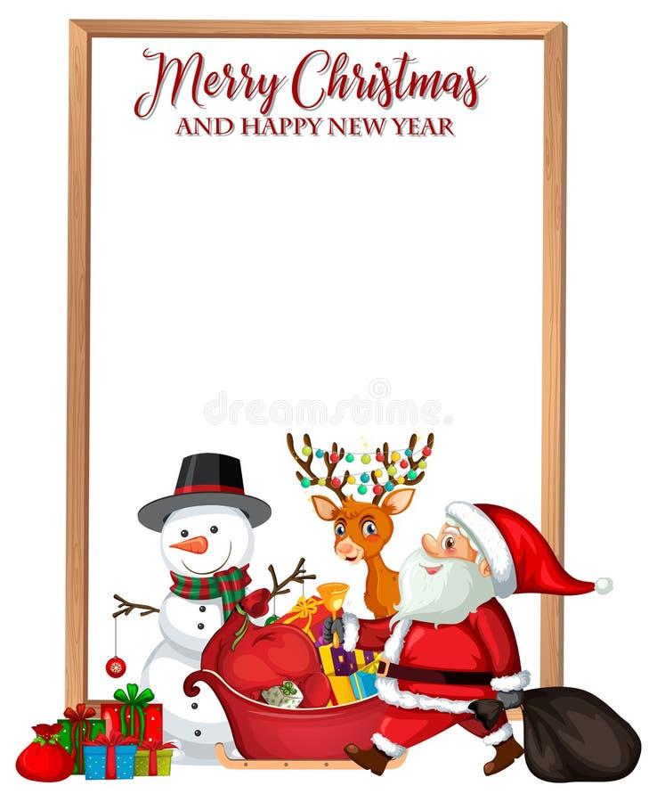 Vrolijke Kerstmis en gelukkige nieuwe jaarkaart stock illustratie
