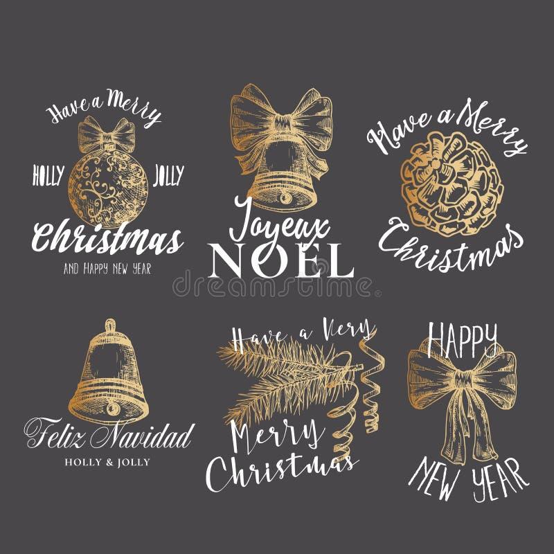Vrolijke Kerstmis en Gelukkige Nieuwjaar Abstracte Vectortekens, Etiketten of Logo Templates Set Hand Getrokken Bal, Lint, Klok vector illustratie