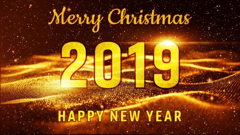 Vrolijke Kerstmis en Gelukkige Nieuwjaar 2019 Gouden kleur Beste voor nieuwe jaargebeurtenis, voor groetenkaart, vliegers, uitnod royalty-vrije illustratie