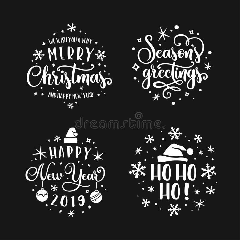 Vrolijke Kerstmis en Gelukkige Nieuwjaar het van letters voorzien malplaatjereeks Vector uitstekende illustratie vector illustratie