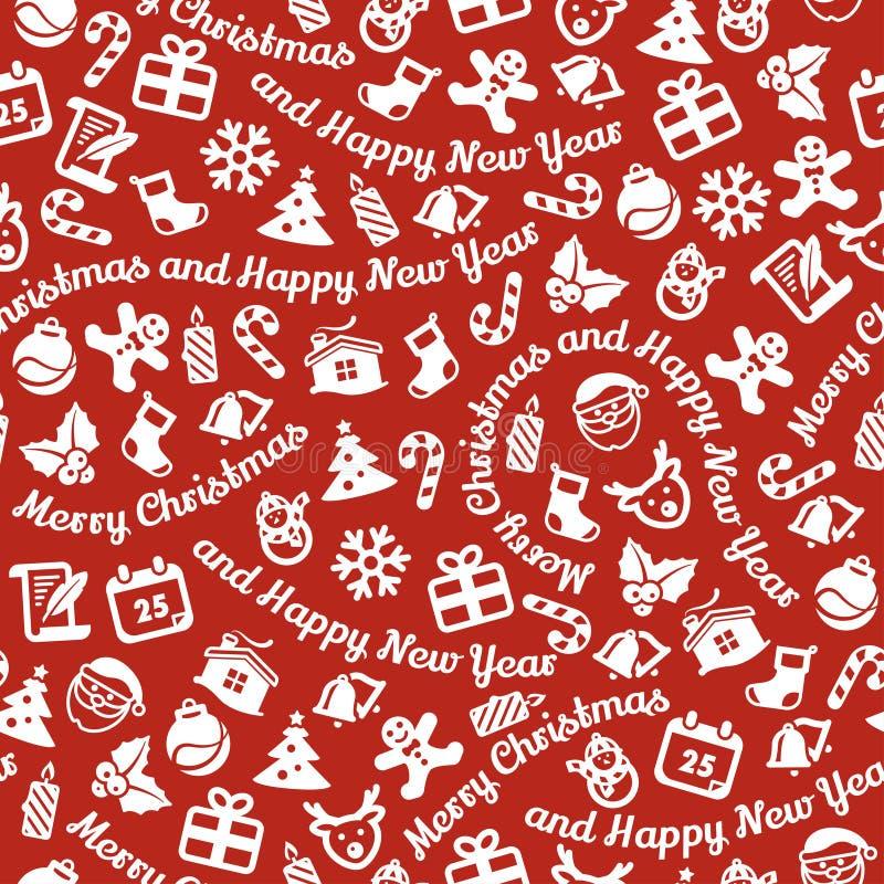Vrolijke Kerstmis en Gelukkige Nieuwjaar naadloze achtergrond royalty-vrije illustratie