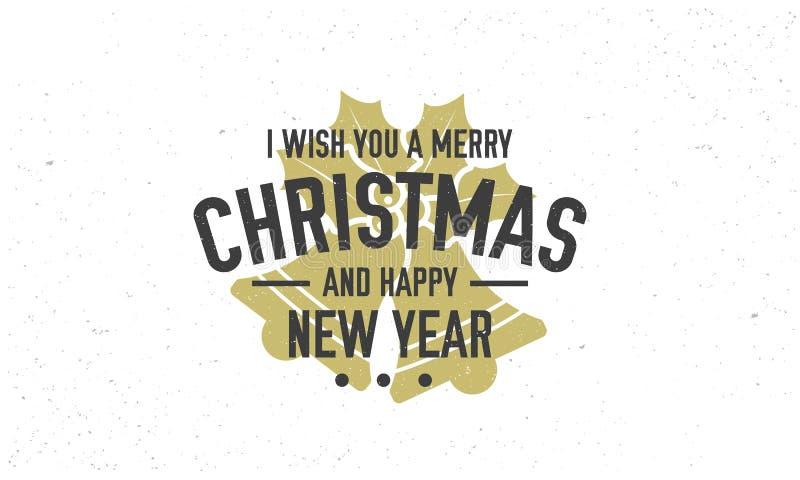Vrolijke Kerstmis en Gelukkige Nieuwjaar 2019 sticker, zegel Uitstekende affiche met tekst en het silhouet van de Kerstmisklok Ui stock illustratie