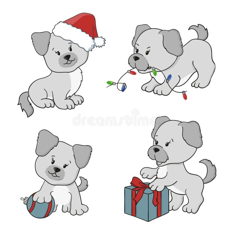 Vrolijke Kerstmis en Gelukkige Nieuwjaar vectorillustraties met beeldverhaalhonden royalty-vrije illustratie