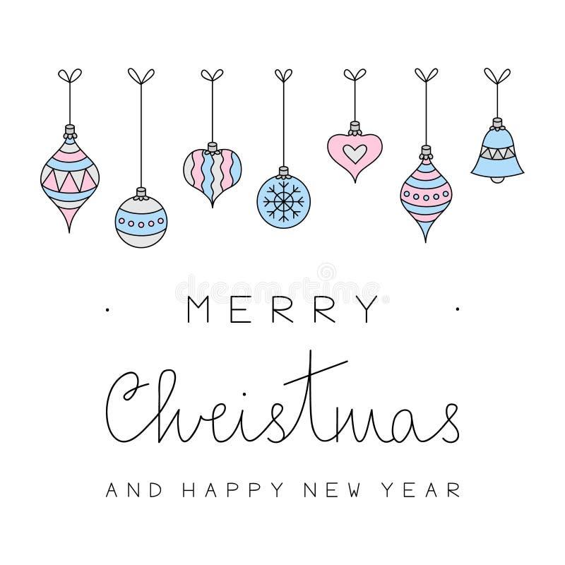 Vrolijke Kerstmis en Gelukkige Nieuwjaar Vectorkaart vector illustratie