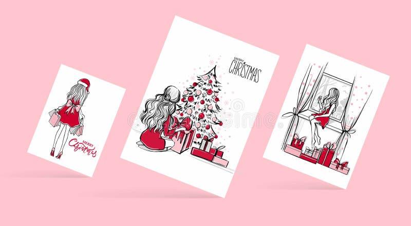 Vrolijke Kerstmis en Gelukkige Nieuwjaar Vectorkaart Kerstmisillustratie royalty-vrije illustratie