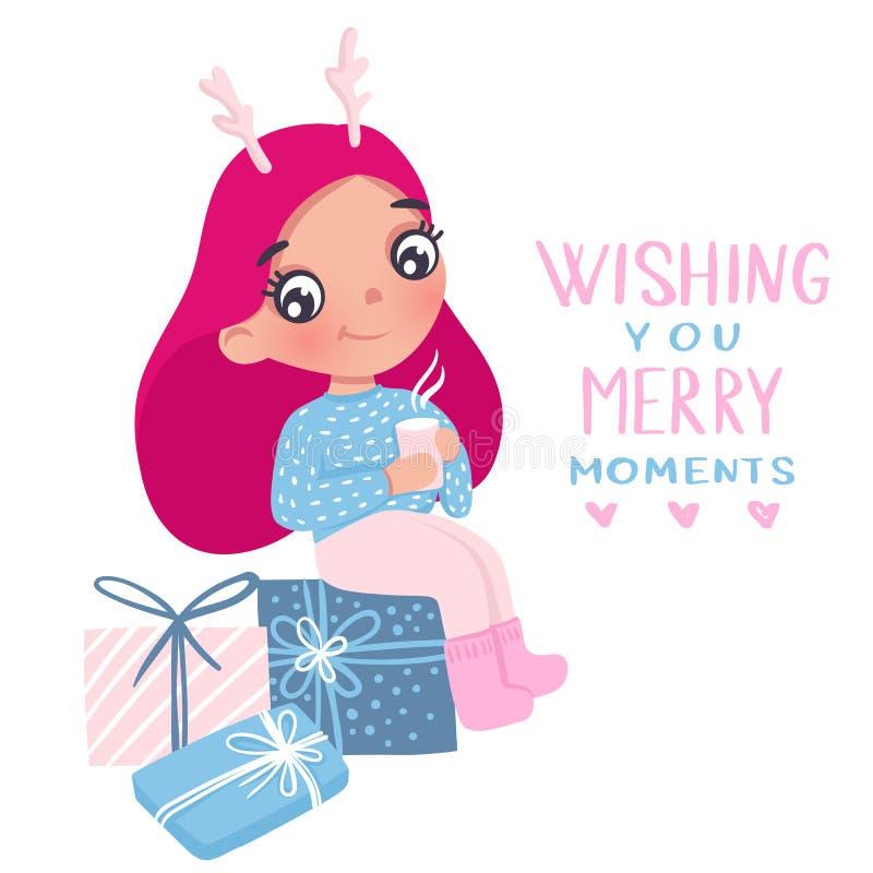 Vrolijke Kerstmis en Gelukkige Nieuwjaar 2019 vectorkaart Weinig ballerina vector illustratie