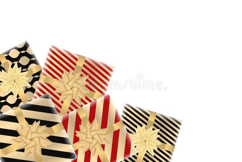 Vrolijke Kerstmis en Gelukkige Nieuwjaarachtergrond met giftdozen Modern ontwerp Universele achtergrond voor affiche, banners, vl stock foto's
