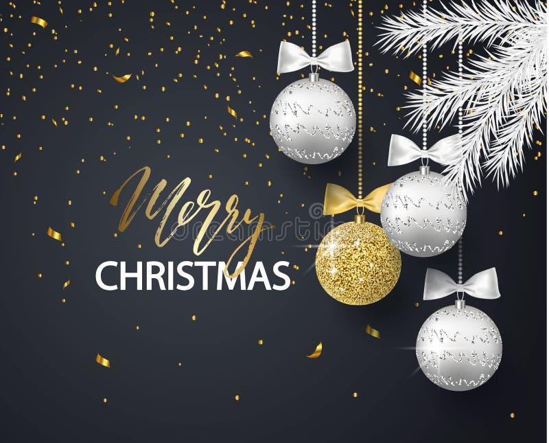 Vrolijke Kerstmis en Gelukkige Nieuwjaarachtergrond voor de kaart van de vakantiegroet, uitnodiging, partijvlieger, affiche, bann royalty-vrije illustratie