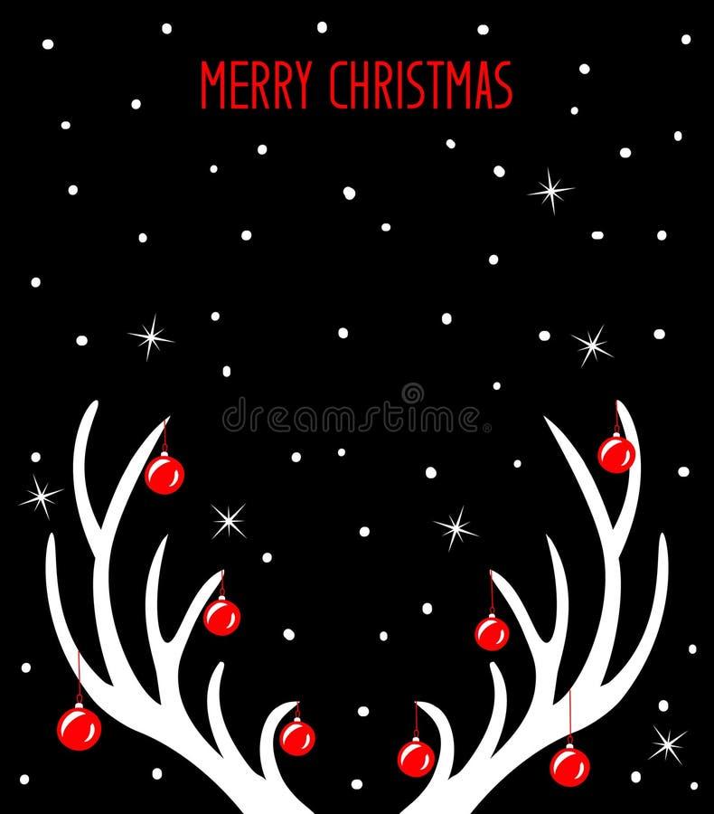 Vrolijke Kerstmis en Gelukkige Nieuwjaaraffiche, groetkaart tempalte met hertengeweitakken vector illustratie