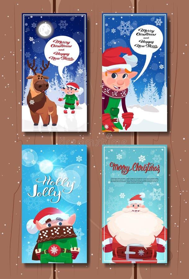 Vrolijke Kerstmis en Gelukkige Nieuwjaaraffiches Geplaatst Leuke Kerstman, de Karakters van Elfs en van het Rendier op Vakantieba royalty-vrije illustratie