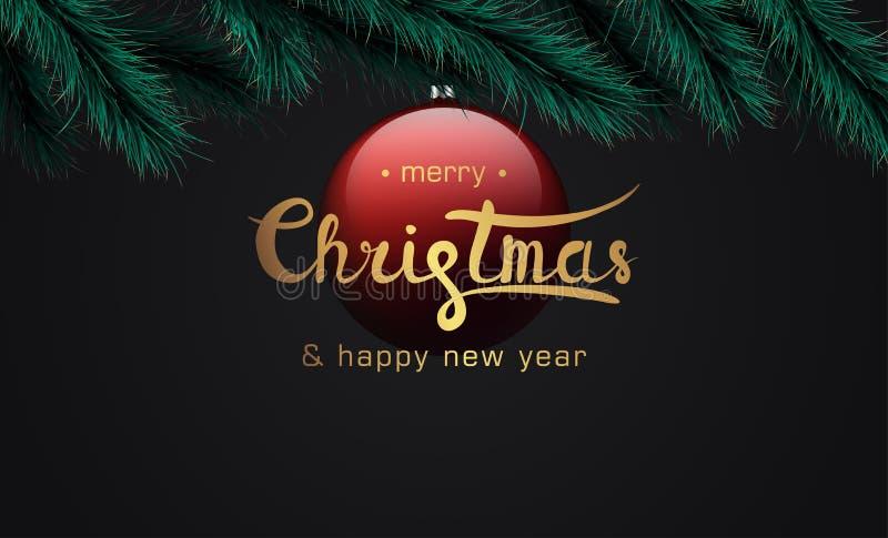 Vrolijke Kerstmis en Gelukkige Nieuwjaarbanner stock afbeelding