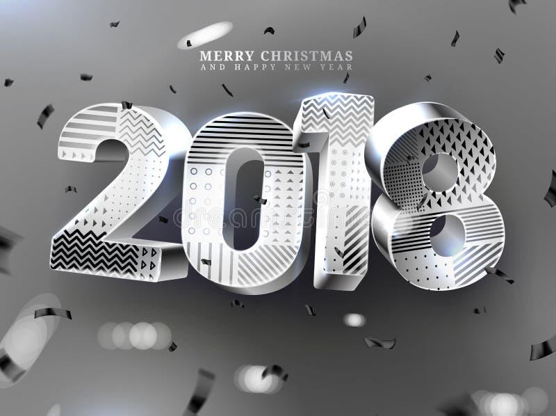 2018 Vrolijke Kerstmis en Gelukkige Nieuwjaardecoratie Vectorillustratie van 3d metaalaantal van 2018 met geometrische textuur royalty-vrije illustratie