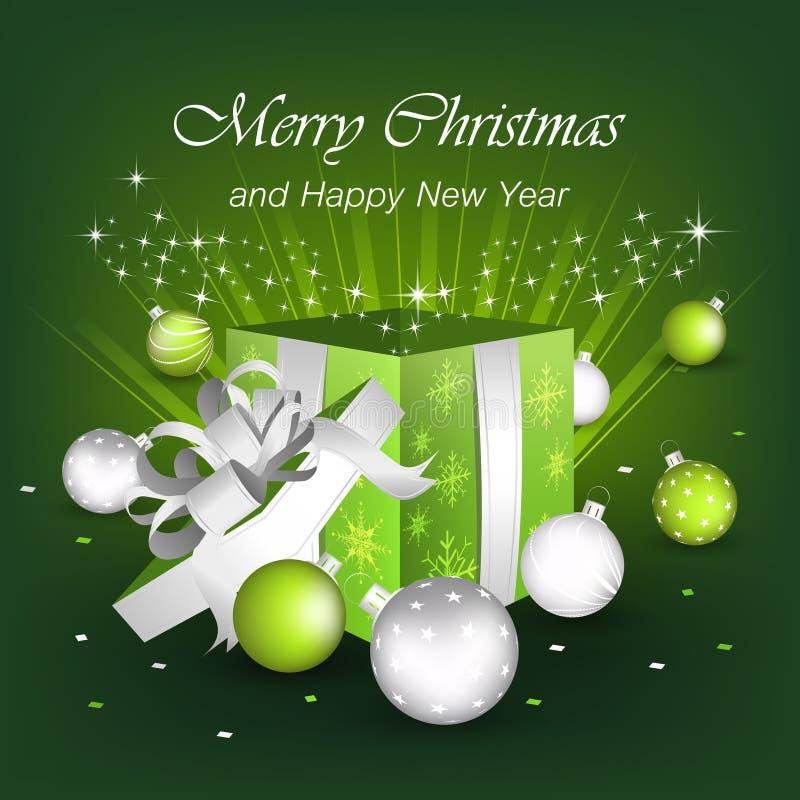 Vrolijke Kerstmis en Gelukkige Nieuwjaargroeten stock illustratie