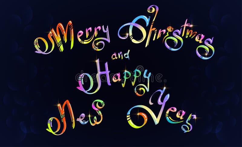 Vrolijke Kerstmis en Gelukkige Nieuwjaarhand getrokken tekst stock illustratie