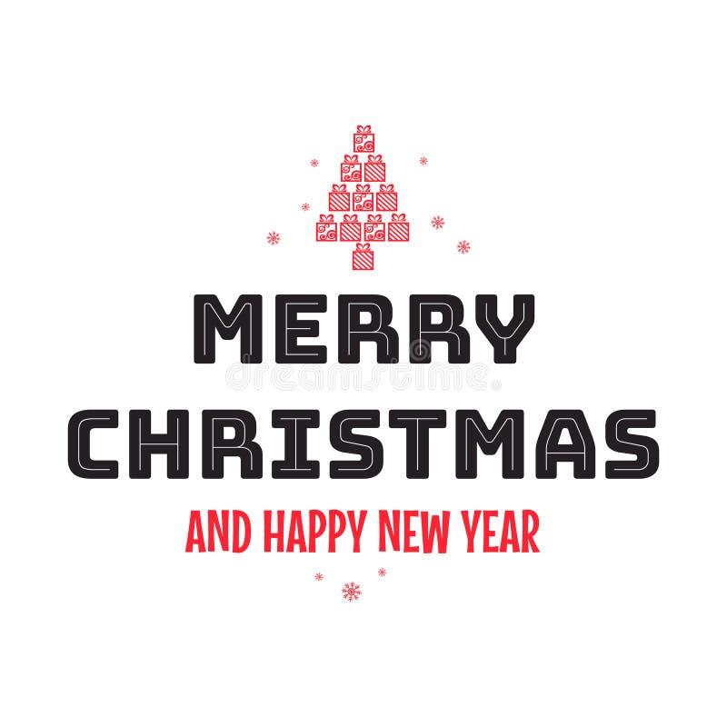 Vrolijke Kerstmis en gelukkige Nieuwjaarhand het van letters voorzien inschrijving Vectorillustratie voor groetkaart royalty-vrije illustratie