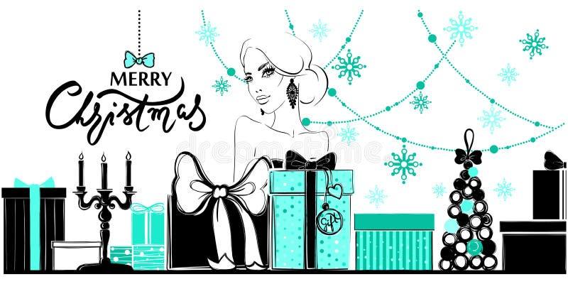 Vrolijke Kerstmis en Gelukkige Nieuwjaarillustratie royalty-vrije illustratie